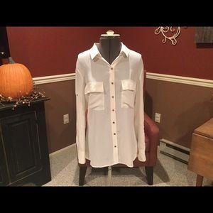 Women's Express Long Sleeve Silk Blouse Size M